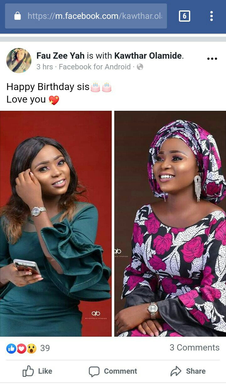 Happy Birthday to  Kawthar Olaminde -Drop your well wishes for her.