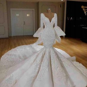 2020 Gorgeous Mermaid Wedding Gowns Bead vestido de noiva Dubai Arabic Bride Dress Lace Appliques Puffy Sleeve Wedding Gowns