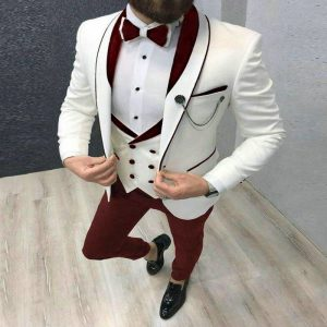 2020 Men's Suit Fashion Formal Business Slim Fit 3-Pieces White Blazers Burgundy Pant Men's Tuxedo Wedding Men Suits Groom Suit