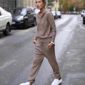 2020 Time-limited Wool Full Winter New Cashmere Two-piece Women's Casual Hooded Sweater Knit Trousers 2 Piece Suit Female Zipper