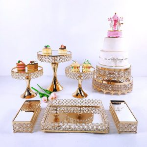 3-9pcs Crystal Metal Cake Stand Set Acrylic Mirror Cupcake Decorations Dessert Pedestal Wedding Party Display Tray