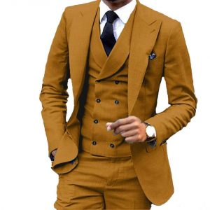 3 Pieces Slim Fit Brown Yellow Groom Tuxedos Peak Lapel Groomsmen Men Wedding Suit Jacket Blazer 3Piece Suit(Jacket Pants Vest)