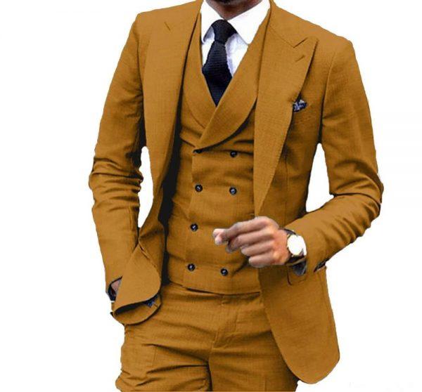 3 Pieces Slim Fit Brown Yellow Groom Tuxedos Peak Lapel Groomsmen Men Wedding Suit Jacket Blazer 3Piece Suit(Jacket Pants Vest)