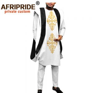 African Clothing for Men Dashiki Embroidery Agbada Robe Plus Size Dashiki Outfits Coats Shirts and Pants 3 Piece Set A2016044