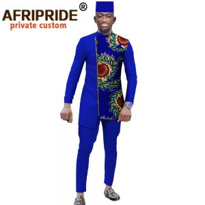 African Traditional Clothing for Men Print Coats Outwear Ankara Pants and Tribal Hat Dashiki Outfits Plus Size Pockets A2016039