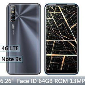 "Android Note 9s 4GB RAM 64GB ROM 13MP Face unlocked Quad Core Global Smartphones 6.26"" 4G Lte Cellphones celulares Mobile Phones"