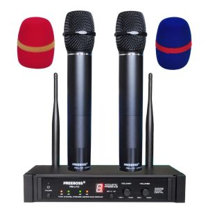 Freeboss FB-U10 Dual Way Karaoke Meeting Church School Sing 2 Metal Handhelds UHF Wireless Microphone