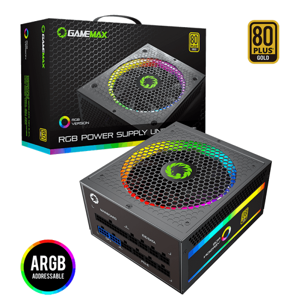 GameMax PSU True Rated 850W RGB Power Supply Fully Modular 80 Plus Gold Certified with Addressable RGB Light for PC Power Supply