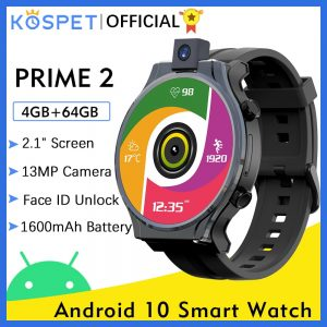 "KOSPET PRIME 2 4G Smart Watch Men 4GB 64GB 13MP Camera 1600mAh 2.1"" Android 10 Watch Phone WIFI GPS Smartwatch 2020 For Xiaomi"