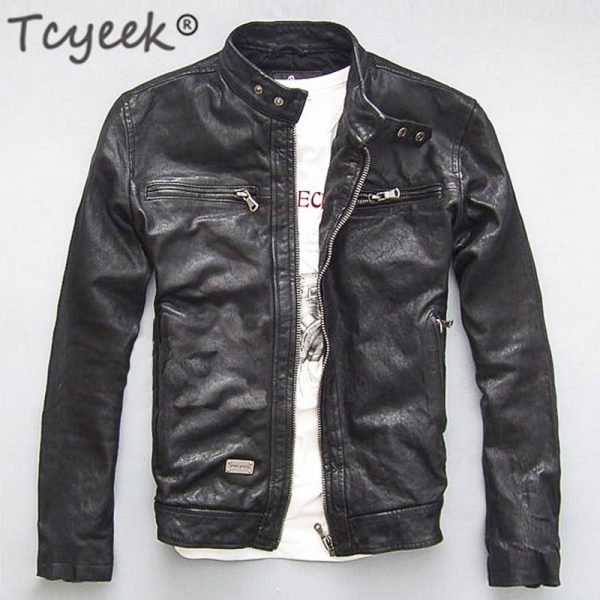 Men Leather Jacket Genuine Real Sheep Goat Skin Brand Black Male Bomber Motorcycle Biker Man's Coat Autumn Spring Clothes zlg88