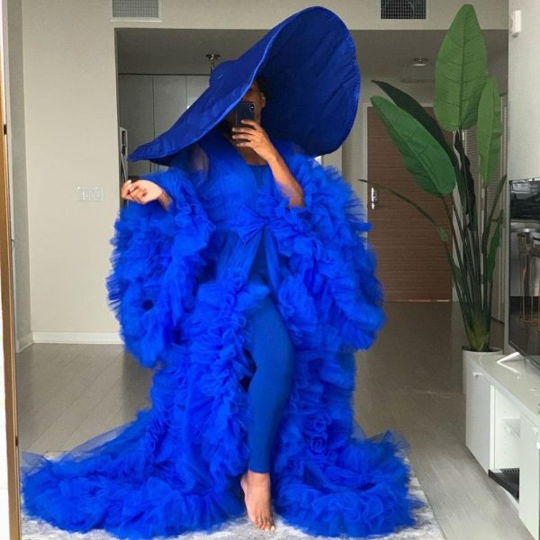 Royal Blue Extra Puffy Tulle Dresses Long Sleeves Sheer See Through Women Tulle Maternity Dress Plus Size For Photography